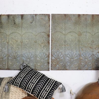 Abstract Rustic Industrial Modern Ceiling 1800 Antique Tin Tiles Large Contemporary Metal Wall Décor Relief Sculptures Verghis Green Patina