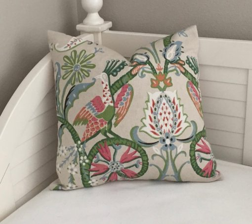 Thibaut Peacock Garden in Coral & Pink Designer Pillow Cover - Square Euro Sizes