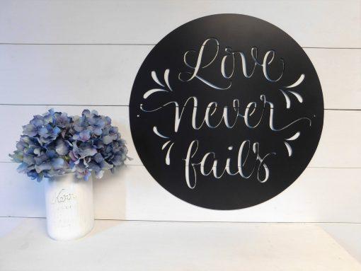 Love Never Fails Sign, Wall Art, 1 Corinthians 138 Sign, Metal Bible Verse Decor