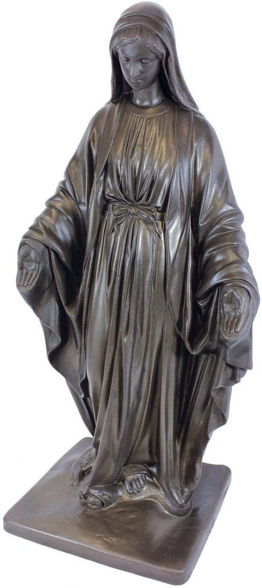"""Art Deco Virgin Mary Statue - Natural Appearance Made Of Resin Lightweight 34"""" Garden, Bronze For Garden Entryway Home Decorations"""