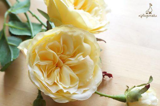 3 - 12 Stems Yellow Garden Rose   Fb0085-03S   Silk Flower - Centrepieces Wedding Décor Yellow Bouquet Home Decor Wreath