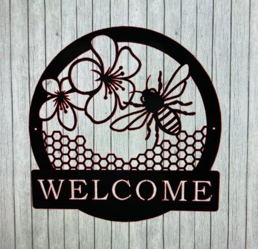 Metal Bee Welcome Sign, Wall Art, Lovers Sign Sculpture, Barn & Farmhouse Art