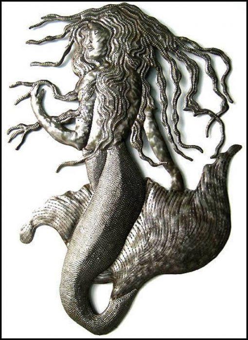 Metal Mermaid Art, Wall Decor, Haitian Metal Art, Recycled Steel Drums, Mermaid, Outdoor Mermaid Hanging, 510
