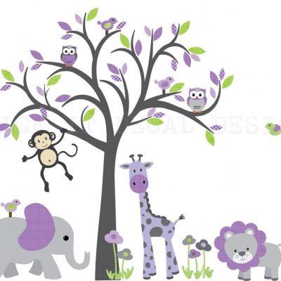 Baby Girl Nursery Wall Decal, Nursery Decor, Wall Stickers, Smaller Lauren's Garden Design/Grey Tree