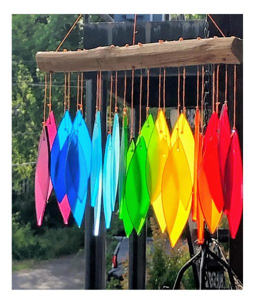 Rainbow Glass Wind Chime Chimes Windchime Windchimes Wood Branch Top Outdoor Patio Porch Garden Sounds Gift For Her Yard Hanging Spectrum