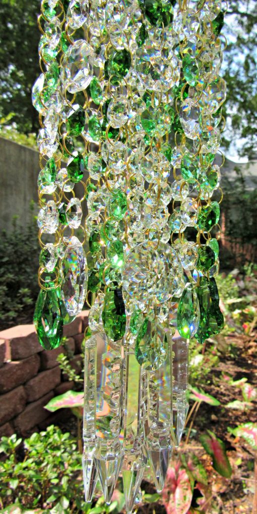 Green Crystal Wind Chime, Garden Décor, Sun Catcher, Glass House Warming Gift, Gift For Her, Wc218
