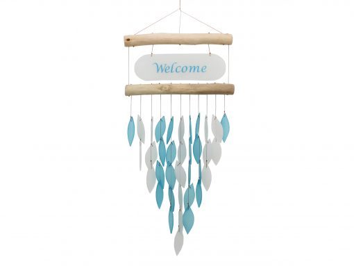 Cohasset Tumbled Glass Wind Chime - Welcome Design Blue & White Recycled & Driftwood Suncatcher, Window/Wall Art, Garden Décor