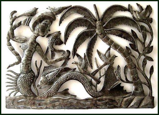 "Mermaid Metal Art, Metal Wall Art -24"" Decor, Garden Hanging, Haitian Art, Recycled Steel Drum, 483-24"