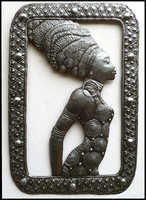 "Ethnic Art, Metal Wall Hanging, African Woman, Art, Steel Drum Decor, Haitian 21"" X 32"" - W102"