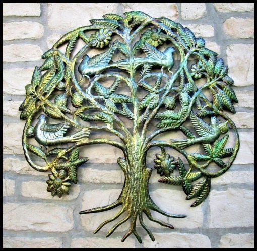 """Metal Tree Art, Outdoor Metal Wall Art, Tree Of Life, Hanging, Iridescent Haitian Garden 31"""", 1635-Ir"""