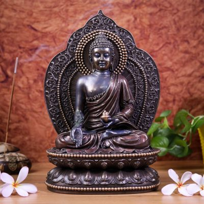"""11"""" Buddha - Cold Cast Resin Statue Sacred Altar Space Decor, Gift, Yoga Space Calling The Earth Buddha Sitting On Throne"""