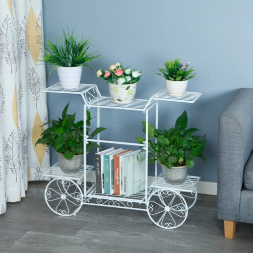 Multilayer Cart Metal Stand Plant Flower Storage Shelf Rack For Home, Entryway, Garden Décor Gift For Planters   On Sale