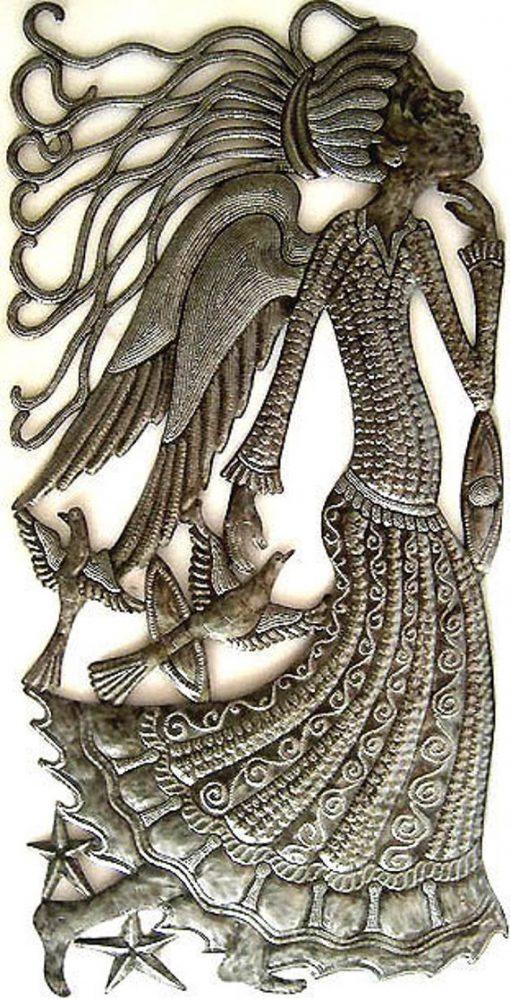 "Angel Metal Art, Wall Hanging, Metal Angel, Art, Haitian Outdoor Decor, Angel Art -34"" - 512"