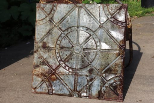 Ultimate Rare Modern Statement Industrial Machine Age Ceiling Tin Tile Rustic Gears Orig. Patina Metal 150 Year Old Antique Art Panels