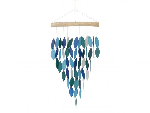 Glass Wind Chime - Large Cascade Design Blue & White Recycled & Driftwood Cohasset Gifts Suncatcher, Mobile, Garden Décor