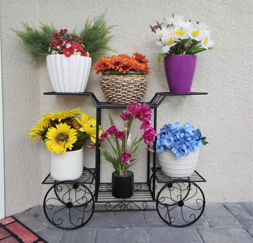 Multilayer Cart Metal Stand Plant Flower Storage Shelf Rack, Pot Holder, Garden Décor Gift For Planters   Fathers Day On Sale