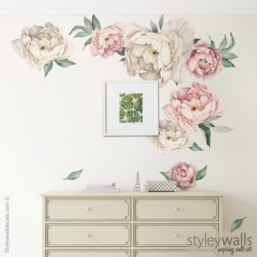 Peony Flowers Wall Decal, Watercolor Peonies Vintage Sticker Garden Home Decor
