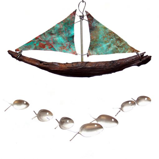 Driftwood with Copper Sails Sailing Boat Windchime Spoon Fish Wind Chime Nautical Patio Décor, Model Ship, Unisex Sailor Gift, Naval