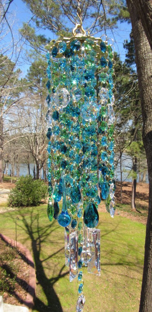 Teal Crystal Wind Chime, Sun Catcher, Glass Garden Décor, House Warming Gift, Gift For Her, Wc190V3