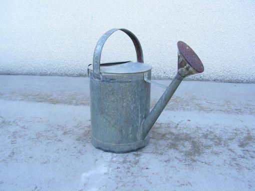 Vintage French Galvanized Watering Can, Zinc Rustic Garden Décor, Old Tool, Antique Metal Gardening Flower Pot