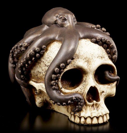 Large Kraken Octopus Wrapping Around Human Skull, Octopus Sculpture, Fantastic Décor, Kraken, Necklace, Skull Art, And