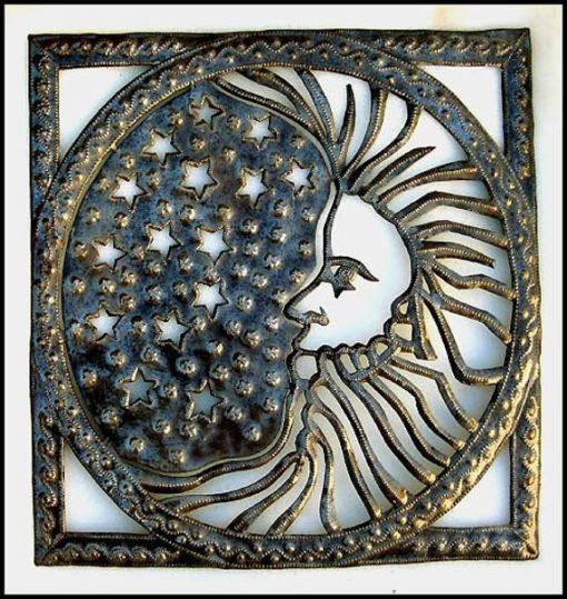 Moon Metal Art, Wall Hanging, Metal Art, Recycled Steel Drum Haitian Outdoor Garden Decor, Rn-601