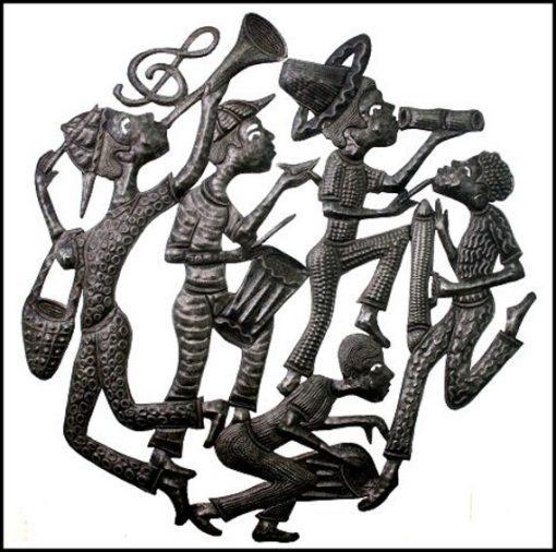 "Metal Wall Art, Ethnic Art, Metal Wall Decor, Haitian Carnival Rara Band Hanging, 30"" Recycled Steel Drum 8013-30"