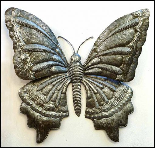 """Butterfly Wall Hanging, Metal Butterfly Art, Wall Decor, 34"""", Outdoor Haitian Butterflies, 577-34"""