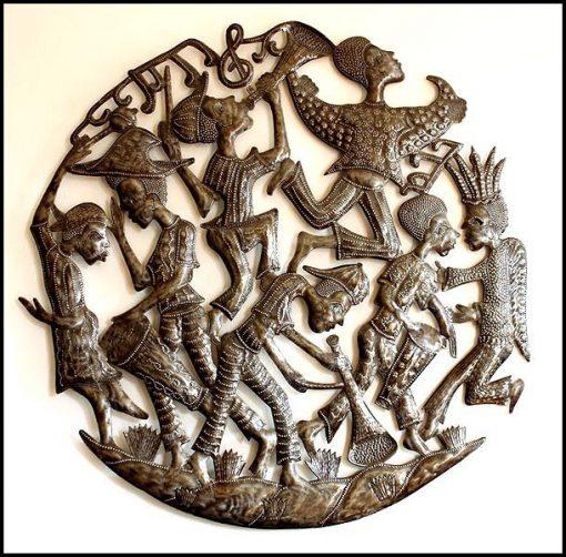 "Metal Wall Art, Haitian Metal Art, Steel Drum, Wall Hanging, Rara Band, Ethnic Design, Decor, 24"" - 559"