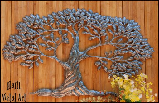 Tree Wall Hanging, Tree Of Life, Metal Art Tree, Outdoor Art, Wall Decor, Art, Tree, Haitian Art, 366-Ov