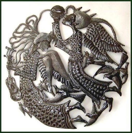 "Outdoor Metal Art - Angels 24"", Haitian Metal Art, Recycled Steel Drum, Wall Hanging Decor Art 390"
