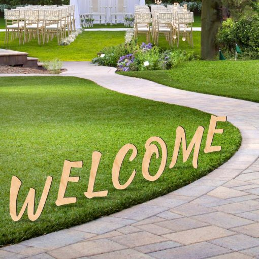 Welcome Sign Wooden Letters Free-standing Garden Party Decor 8911201M