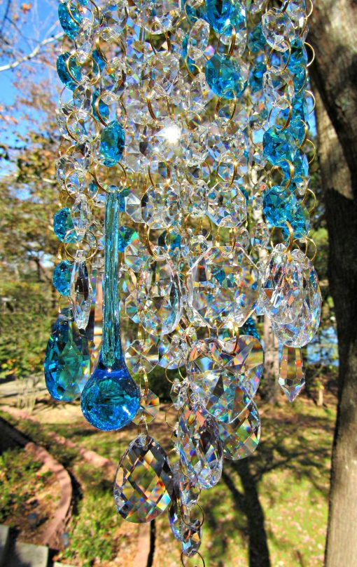 Teal Crystal Wind Chime, Garden Décor, Sun Catcher, Glass House Warming Gift, Gift For Her, Wc160T