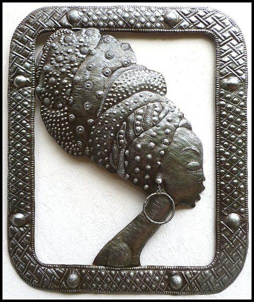 "Metal Wall Art, Metal Art, Wall Hanging, African Woman, Ethnic Haitian Steel Drum, Home Decor, Art - 20"" X 24"" W109"