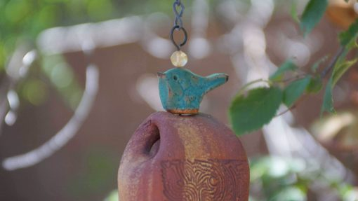 Handmade Wind Chime, Yard Art With Blue Love Bird, Great Gift For Wife