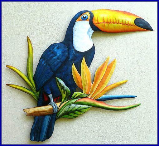 "Toucan Art, Tropical Metal Painted Wall Art Work, Parrot Hanging, Garden Decor, 22"" X 26"", K-7402"