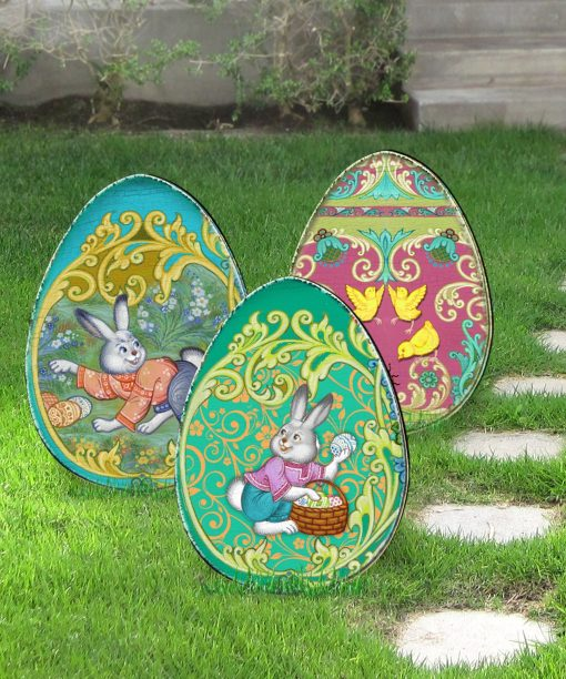 Outdoor Easter Decor Spring Yard - Decorated Eggs Set Of 3 Freestanding Lawn By G.debrekht 8198712-3M-S3