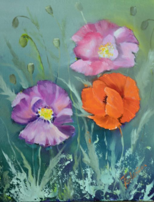 Shirley Poppies Oil Painting Original, Fine Art, Floral Wall Orange & Pink Flowers, Artwork, Décor, Home Office Accents, Summer