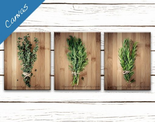 Kitchen Art, Canvas Herb Prints, Wall Art Series, Home Décor Rustic Kitchen, Cooking Gift, Set Of 3, Culinary Herbs Set