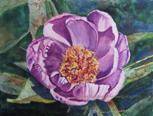 Original Peony Flower Watercolor Painting, Pink Wall Art, Lover Garden Decor, Home Decor