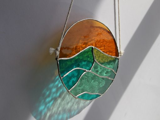 Ocean Sunset Wall Art, Home Décor Pictures, Sunrise Over Water, Summer Decoration Hanging, Window For Stained Glass Hanging
