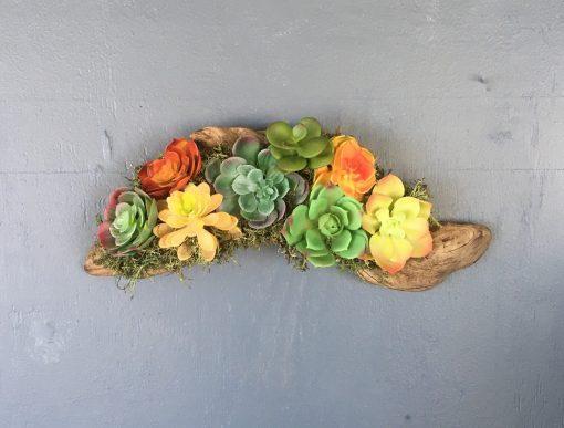 Handmade Driftwood Artificial Succulent Wall Art, Décor Art Arrangement Rustic Home Décor, Beach