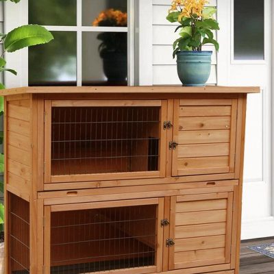 """48"""" Wooden Rabbit Hutch Chicken Coop Hen House Poultry Pet Cage 