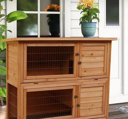 """48"""" Wooden Rabbit Hutch Chicken Coop Hen House Poultry Pet Cage   Outdoor Cages"""