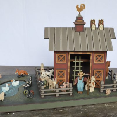 Wooden Barn With Hand Carved Animals, Farm