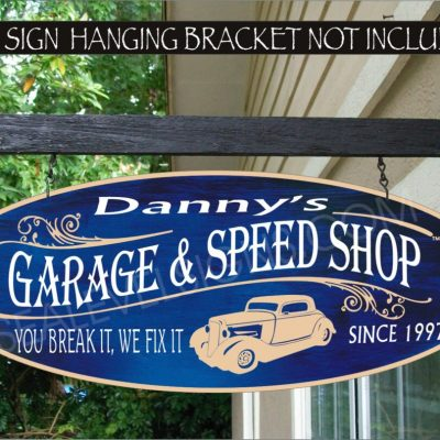 2019 Hot Rod Car Garage Man Cave Sign & Speed Shop Decor Street Family Name Custom Personalized #902