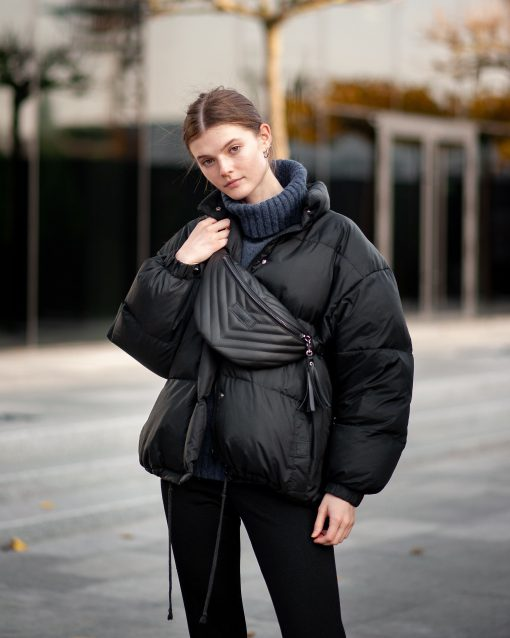 Leather Fanny Pack, Large Black Hip Pouch, Quilt Leather Waist Bag, Pack Gift Belt Bag Travel