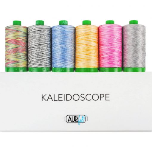 Aurifil Kaleidoscope Collection Mako Cotton 40 Weight Wt Pink Blue Yellow Rainbow Gray Thread Spools Large Spool Quilting Set Of 6