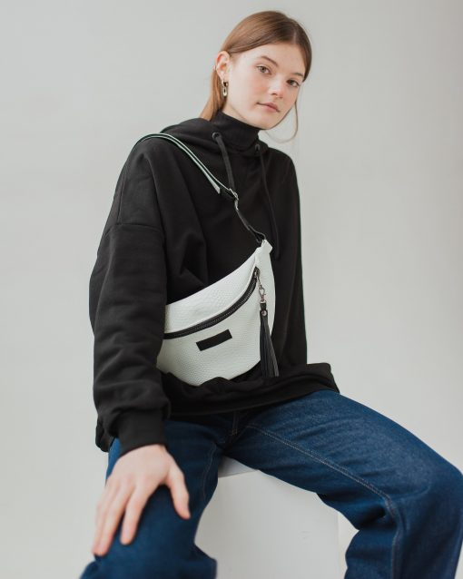 White Leather Bag Large Fanny Pack Unisex Waist Travel - Gift Belt Hip Pouch
