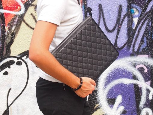 Top Quality Genuine Calf Leather Dossier Folder, Handmade Quilted Organizer, Document Portfolio, Tablet Case, Made in Greece